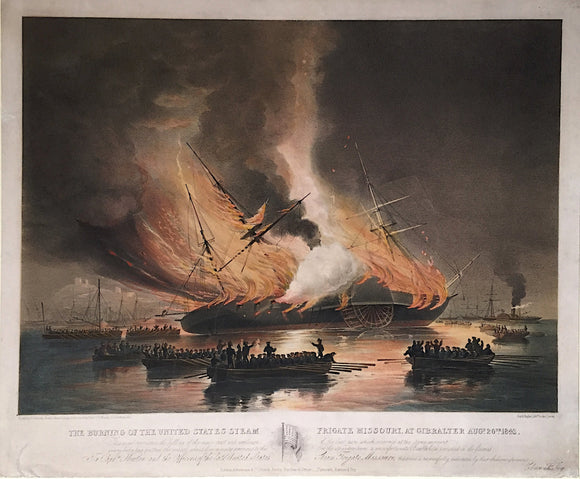 EDWARD DUNCAN, after G.P. MENDS, The Burning of the United States Steam Frigate Missouri, c. 1843.