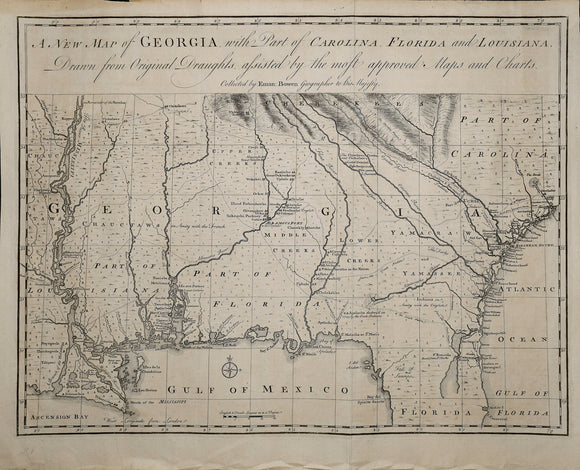 Emanuel Bowen (1694 - May 8, 1767).  A New Map of Georgia with Part of Carolina, Florida and Louisiana. 1748. 14.5 x 19 in (36.83 x 48.26 cm)
