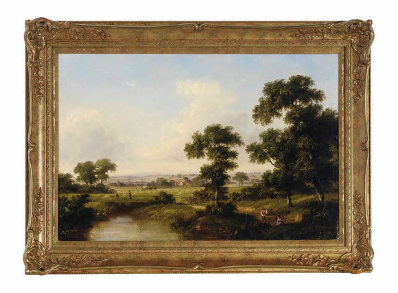 English School, 19th Century Working by the pond oil on canvas