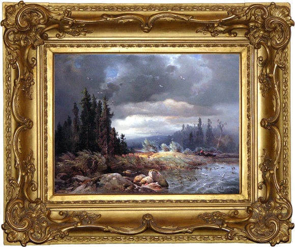 Carl Hilgers (1818-1890) Winter Lake Scene Oil on canvas