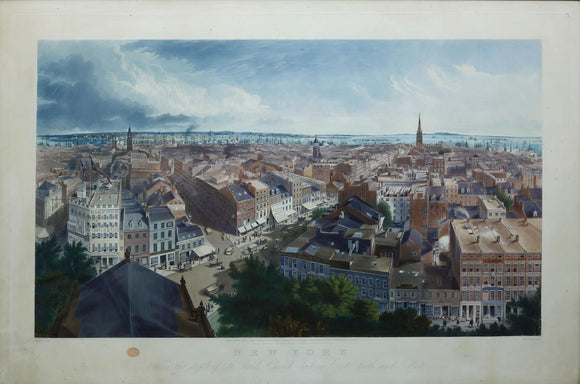 JOHN WILLIAM HILL (1812-1879), engraved by Henry Papprill (1816-1903): New York From the Steeple of St. Paul's Church Looking East, South and West.