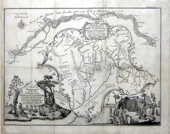 HUTCHINS, Thomas (1730 -1789). A general map of the country on the Ohio and Muskingham... in 1764. Philadelphia: W. Bradford, 1765.