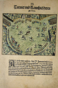 "De BRY, Johann Theodor, (1560-1623) and Johann Israel de Bry (1565-1609). Part V, Plate 03, Tournament and Race of Those from Tuban. From the ""Little Voyages"""