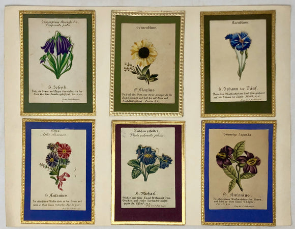 BOTANICAL SAINT'S CARDS.  A fine collection of Saint's Cards, each with a moveable flower emblem.  Einsiedeln: Charles and Nicholas Benziger; Prague: I.F. Marouschek, J. Pashmeyer; Ufer: N. Kremplsetzer, [ca, 1850].