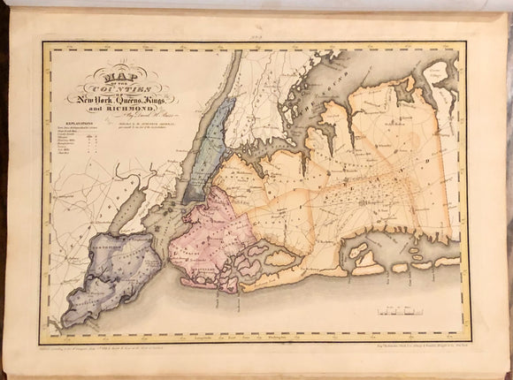 BURR, David H. (1803-1875).  An Atlas of the State of New York, Containing a Map of the State and of the Several Counties. Projected and Drawn by a Uniform Scale from...New York: David H. Burr, 1829 [1830].