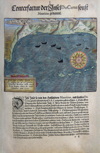 "De BRY, Johann Theodor, (1560-1623) and Johann Israel de Bry (1565-1609). Part V, Plate 01,Description of the Island DoCerne Usually Called Mauritius. From the ""little Voyages"""