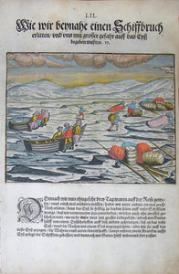 "De BRY, Johann Theodor, (1560-1623) and Johann Israel de Bry (1565-1609). Part III, Plate 52, How We Almost Suffered Shipwreck and with Great Danger Had to Step on the Ice. From the ""Little Voyages"""