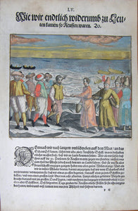 "De BRY, Johann Theodor, (1560-1623) and Johann Israel de Bry (1565-1609). Part III, Plate 55, How We Finally Got Back Among People Who Were Russians. From the ""Little Voyages"""