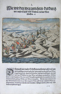 "De BRY, Johann Theodor, (1560-1623) and Johann Israel de Bry (1565-1609). Part III, Plate 50, How we Prepare the Way Thereof we Dragged our Ship and Wares into the Sea. From the ""Little Voyages"""