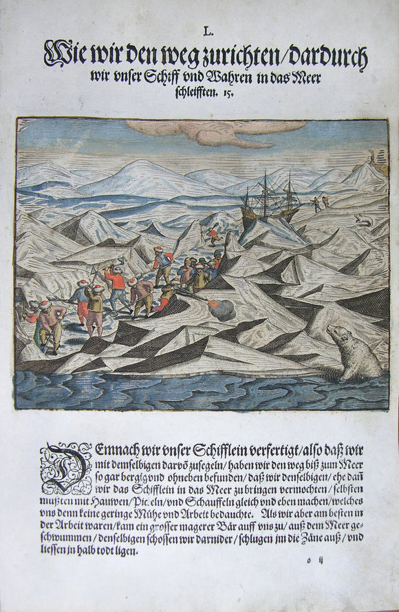 De BRY, Johann Theodor, (1560-1623) and Johann Israel de Bry (1565-1609). Part III, Plate 50, How we Prepare the Way Thereof we Dragged our Ship and Wares into the Sea. From the