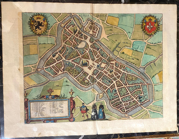 GEORG BRAUN & FRANS HOGENBERG, Lille Insula (Lille), 1572 or later.