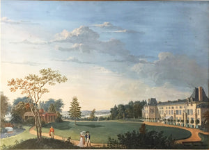 Antoine Pierre Mongin (attr.): View of the Gardens and Facade of the Chateau de Malmaison, near Paris, with Napoleon and Josephine strolling in the foreground Gouache over black chalk, after 1799 18 7/8 x 26 1/2 inches