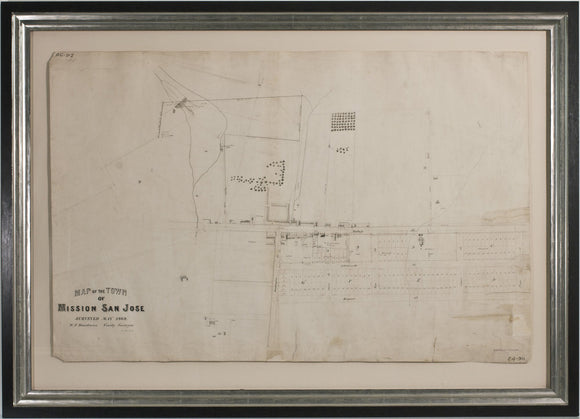 BOARDMAN, William F. (1865-1945), County Surveyor. Map of the Town of Mission San Jose (Fremont). Surveyed May, 1868