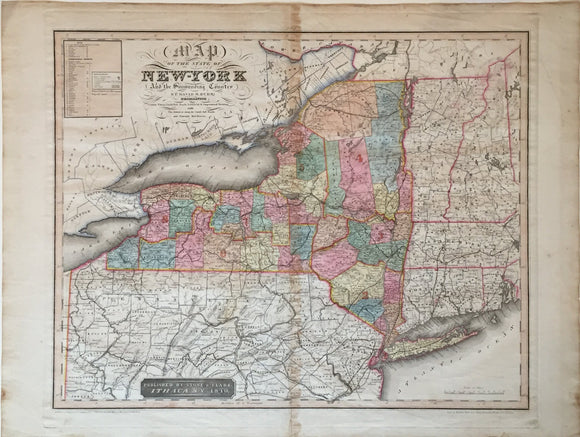 David Burr, engraved by Rawdon, Clark & Co.: Map of the State of New York and the Surrounding Country, Ithaca: Stone & Clark, 1840