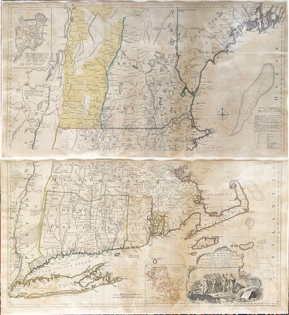 MEAD, Braddock, alias John GREEN (c.1688-1757)]  A Map of the most Inhabited part of New England containing the Provinces of Massachusets