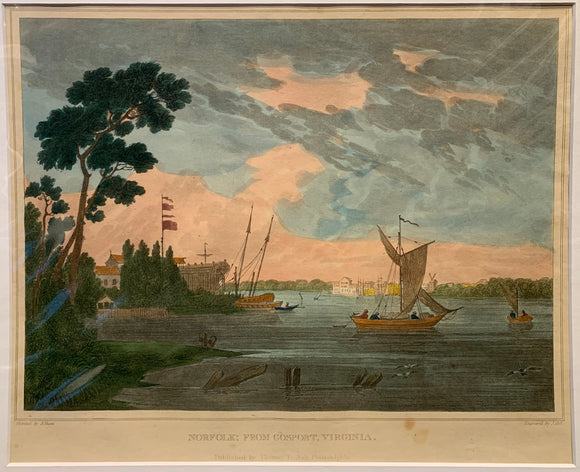 SHAW, Joshua (1776-1860)  Norfolk; From Gosport, Virginia  From: 'The Landscape Album. Picturesque Views of American Scenery'  Published by Philadelphia: Thomas T. Ash, ca. 1835, 1835