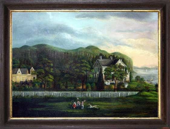 American School, Nineteenth Century View of Hook Mountain (Above Nyack, New York) Oil on canvas