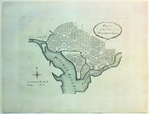 ELLICOTT, Andrew (1754 – 1820). Plan of the City of Washington, Andrew Ellicott's 1792 Revision of the L'Enfant Plan of 1791. Engraved by J. Thackara & J. Vallance: Philidelphia, 1792.