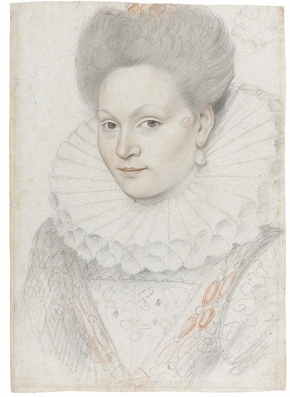 Attributed to Francois Quesnel (1543-1619) Portrait of a Young Woman with a Ruff, a Curl on her Cheek and a Pearl Drop Earring