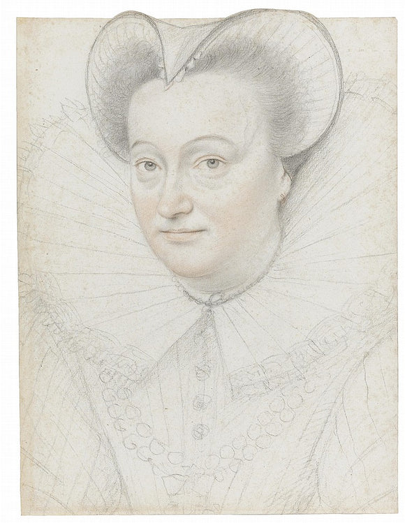 Attributed to Francois Quesnel (1543-1619) Portrait of a Woman with a High Ruff and Cap