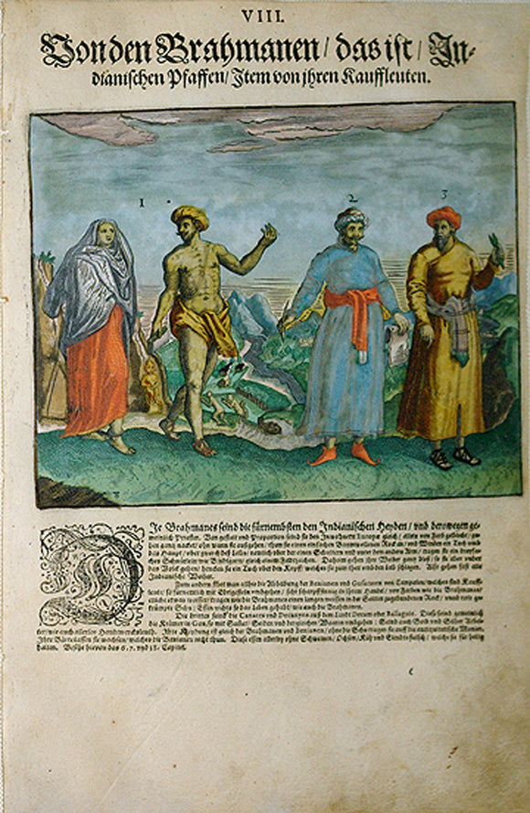 "De BRY, Johann Theodor, (1560-1623) and Johann Israel de Bry (1565-1609).  Part II, Plate 08, The Brahman Indian Priests With Their Traders. From the ""Little Voyages"""