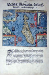 "De BRY, Johann Theodor, (1560-1623) and Johann Israel de Bry (1565-1609). Part III, Plate 08, The Island Madagascar Also S. Laurentij with their Location. From the ""Little Voyages"""