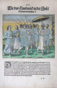 "De BRY, Johann Theodor, (1560-1623) and Johann Israel de Bry (1565-1609). Part III, Plate 14, How the Countrymen of the Island of Sumatra Appear. From the ""Little Voyages"""