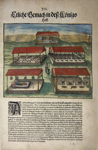 "De BRY, Johann Theodor, (1560-1623) and Johann Israel de Bry (1565-1609). Part V, Plate 19, Several Chambers in the King's Courtyard. From the ""Little Voyages"""
