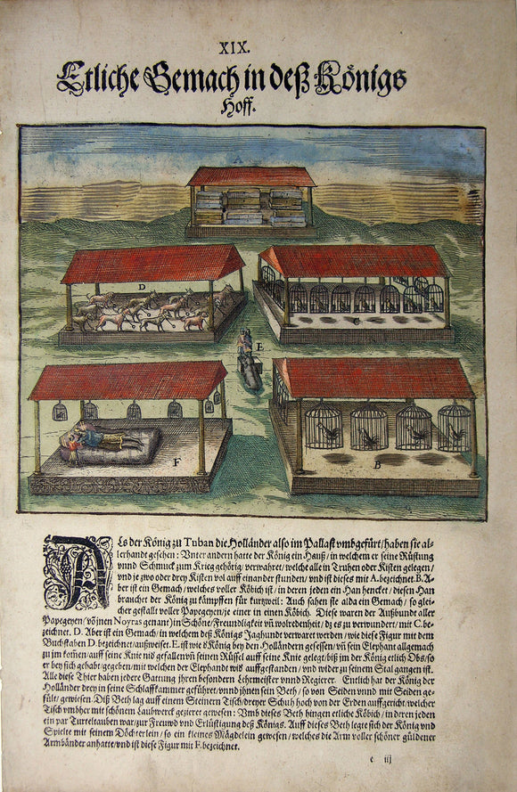 De BRY, Johann Theodor, (1560-1623) and Johann Israel de Bry (1565-1609). Part V, Plate 19, Several Chambers in the King's Courtyard. From the