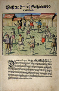 "De BRY, Johann Theodor, (1560-1623) and Johann Israel de Bry (1565-1609). Part V, Plate 11, Fashion and Style of a Ballgame of Those from Banda. From the ""Little Voyages"""