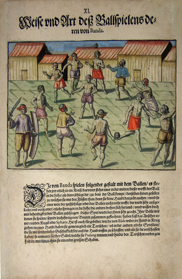 De BRY, Johann Theodor, (1560-1623) and Johann Israel de Bry (1565-1609). Part V, Plate 11, Fashion and Style of a Ballgame of Those from Banda. From the