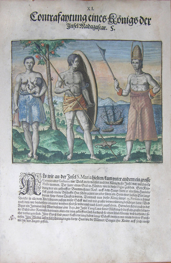 "De BRY, Johann Theodor, (1560-1623) and Johann Israel de Bry (1565-1609). Part III, Plate 11, Description of a King of the Island of Madagascar. From the ""Little Voyages"""