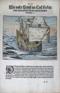 "De BRY, Johann Theodor, (1560-1623) and Johann Israel de Bry (1565-1609). Part III, Plate 42, How Our Ship Got Stuck in the Ice and Three of Ours Almost Died. From the ""Little Voyages"""