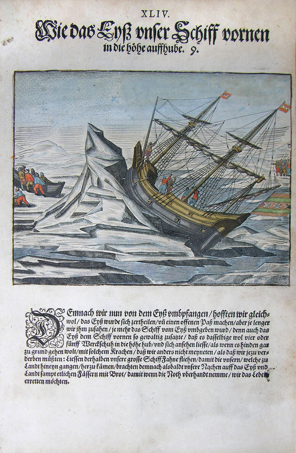 De BRY, Johann Theodor, (1560-1623) and Johann Israel de Bry (1565-1609). Part III, Plate 44, How the Ice Lifted our Ship Up in the Front. From the