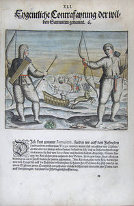 "De BRY, Johann Theodor, (1560-1623) and Johann Israel de Bry (1565-1609). Part III, Plate 41,  Actual Description of the Wild So-called Inuit. From the ""Little Voyages"""