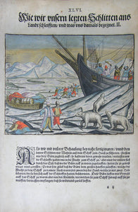 "De BRY, Johann Theodor, (1560-1623) and Johann Israel de Bry (1565-1609). Part III, Plate 46, How we Pulled our Last Sled onto Land and what Befell Us. From the ""Little Voyages"""