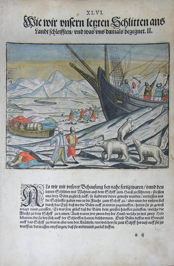 De BRY, Johann Theodor, (1560-1623) and Johann Israel de Bry (1565-1609). Part III, Plate 46, How we Pulled our Last Sled onto Land and what Befell Us. From the