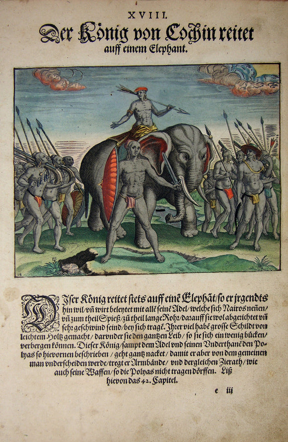"De BRY, Johann Theodor, (1560-1623) and Johann Israel de Bry (1565-1609).  Part II, Plate 18, The King of Cochin Riding an Elephant. From the ""Little Voyages"""