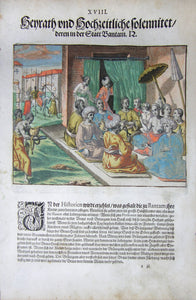 "De BRY, Johann Theodor, (1560-1623) and Johann Israel de Bry (1565-1609). Part III, Plate 18,  Wedding in the City of Bantam. From the ""Little Voyages"""