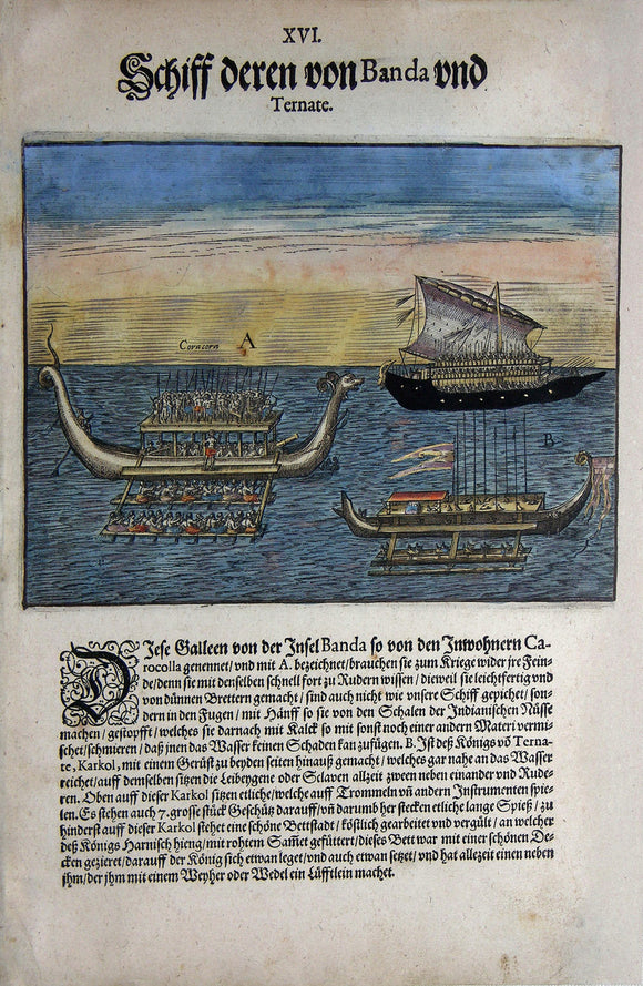 De BRY, Johann Theodor, (1560-1623) and Johann Israel de Bry (1565-1609). Part V, Plate 16, Ships of Those from Banda and Ternate. From the