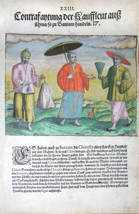 "De BRY, Johann Theodor, (1560-1623) and Johann Israel de Bry (1565-1609). Part III, Plate 23, Description of the Traders from China Who Trade in Bantam. From the ""Little Voyages"""