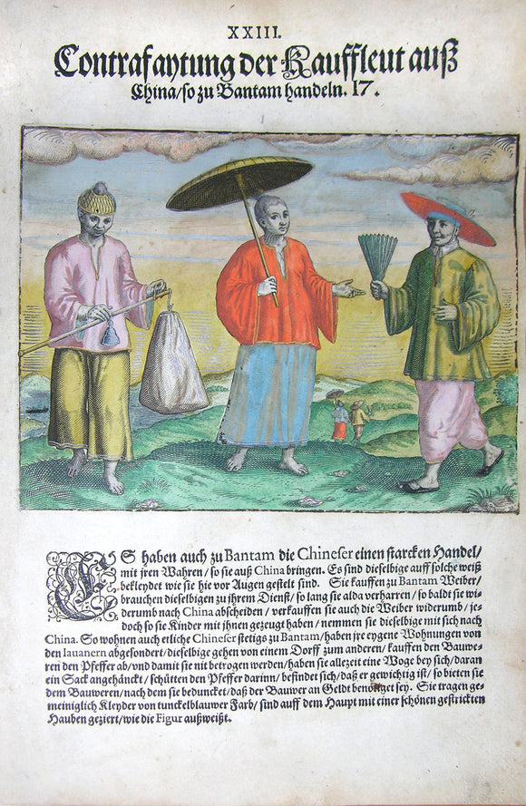 De BRY, Johann Theodor, (1560-1623) and Johann Israel de Bry (1565-1609). Part III, Plate 23, Description of the Traders from China Who Trade in Bantam. From the