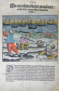 "De BRY, Johann Theodor, (1560-1623) and Johann Israel de Bry (1565-1609). Part III, Plate 29, How a Horrible and Brutal Great Bear Ripped Apart Two of Our Journeymen. From the ""Little Voyages"""