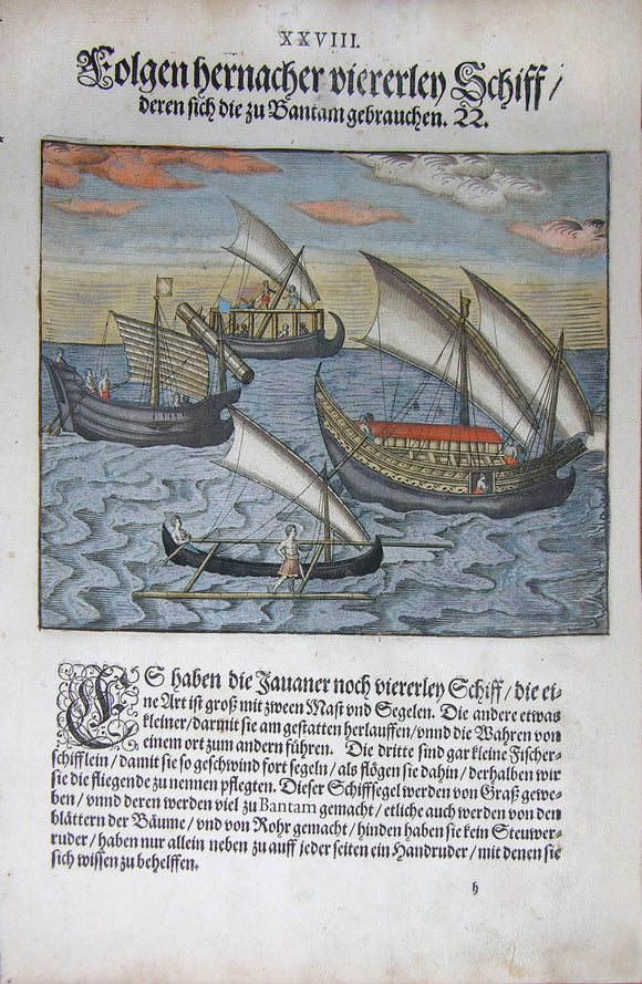 De BRY, Johann Theodor, (1560-1623) and Johann Israel de Bry (1565-1609). Part III, Plate 28, Shown are Four Kinds of Ships Which the Bantamese Use. From the