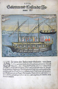 "De BRY, Johann Theodor, (1560-1623) and Johann Israel de Bry (1565-1609). Part III, Plate 27, Small Indian Galleons and Boats. From the ""Little Voyages"""