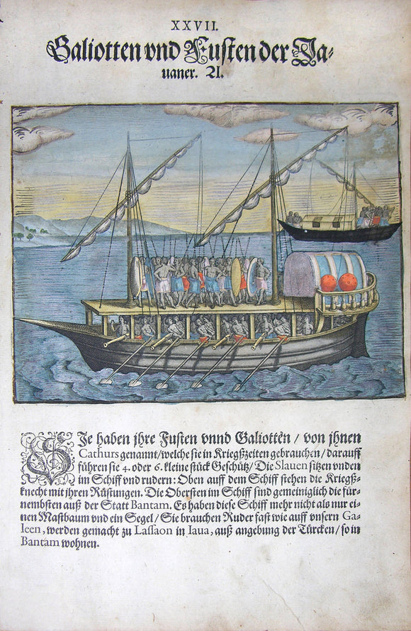 De BRY, Johann Theodor, (1560-1623) and Johann Israel de Bry (1565-1609). Part III, Plate 27, Small Indian Galleons and Boats. From the