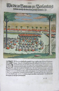 "De BRY, Johann Theodor, (1560-1623) and Johann Israel de Bry (1565-1609). Part III, Plate 25, How the Bantamese Hold their Gatherings Which they Called Council of War. From the ""Little Voyages"""