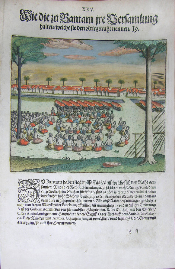 De BRY, Johann Theodor, (1560-1623) and Johann Israel de Bry (1565-1609). Part III, Plate 25, How the Bantamese Hold their Gatherings Which they Called Council of War. From the