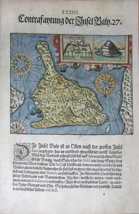 De BRY, Johann Theodor, (1560-1623) and Johann Israel de Bry (1565-1609). Part III, Plate 33, Description of the Island of Bali. From the