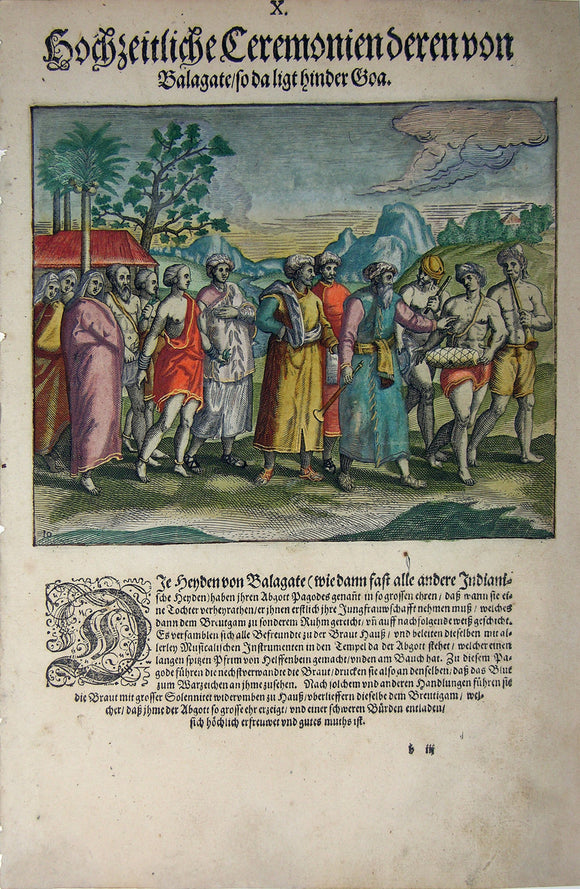 "De BRY, Johann Theodor, (1560-1623) and Johann Israel de Bry (1565-1609).  Part II, Plate 10, Wedding Ceremony in Balagate Which is Located Behind Goa. From the ""Little Voyages"""